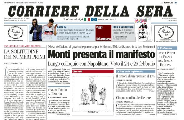 Corriere della sera prima pagina del 23 dicembre 2012 for Corriere della sera arredamento