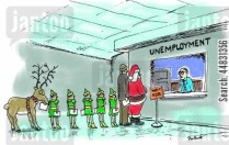 Santa and his elves are in unemployment line.