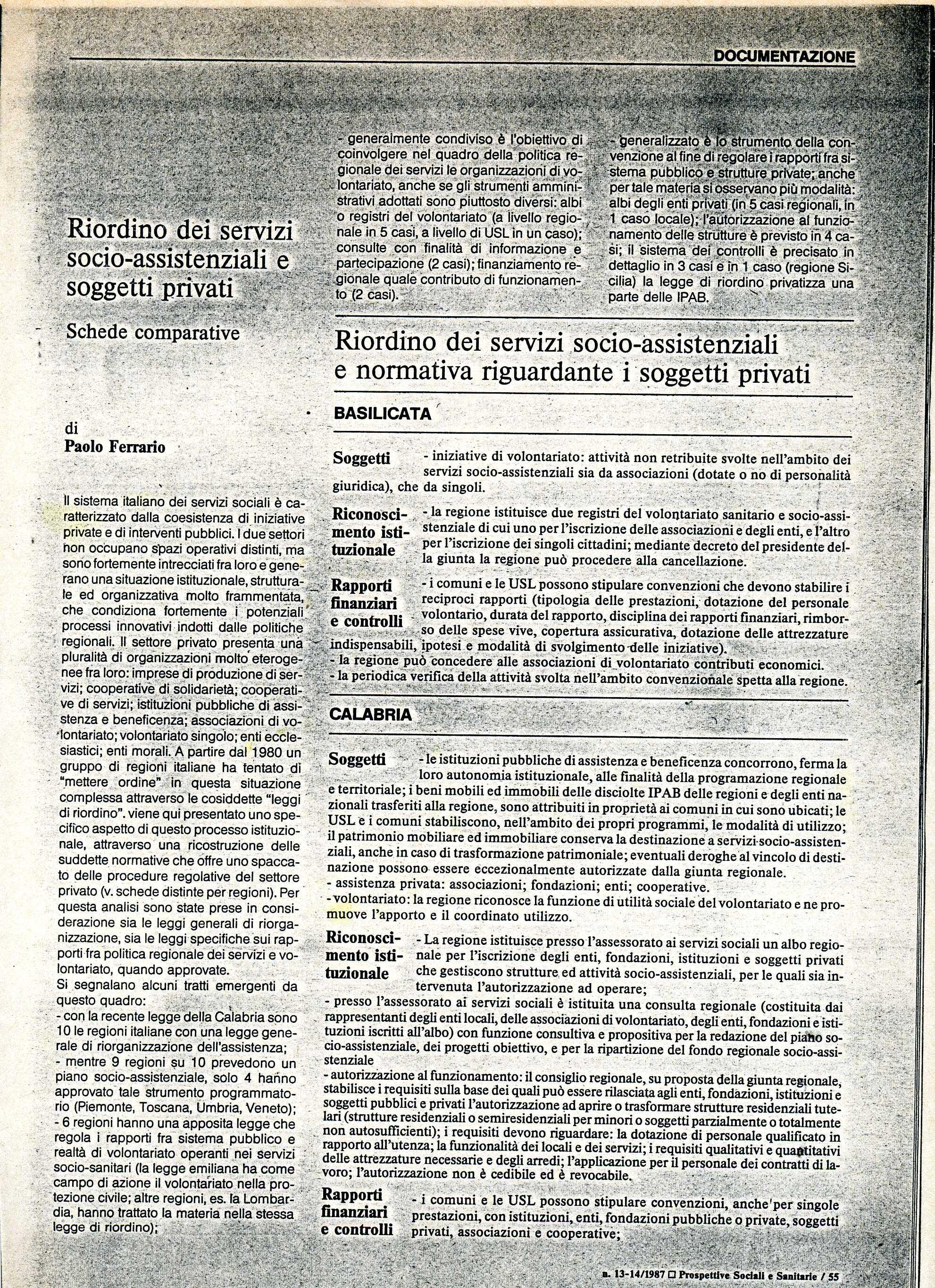 Ferrario paolo riordino dei servizi socio assistenziali for Servizi socio assistenziali