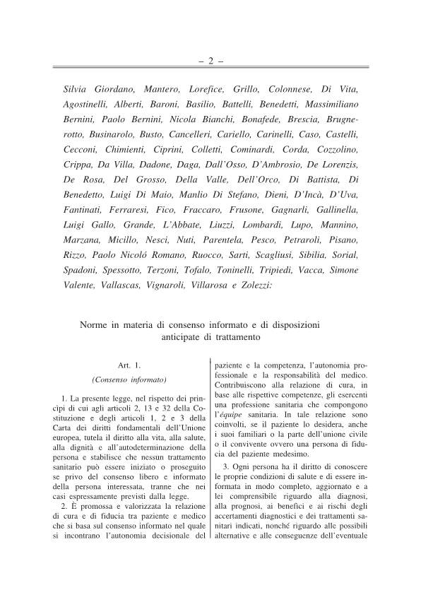 Disposizioni anticipate di trattamento testo approv Senato 141217-p2