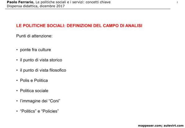 POLITICHE SOCIALI e concetto SERVIZIO 2017 -p01