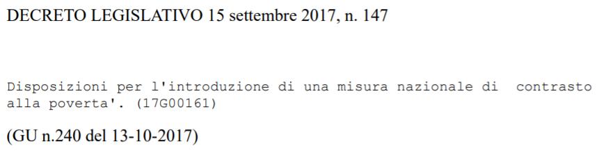 d.lgs 147 2017