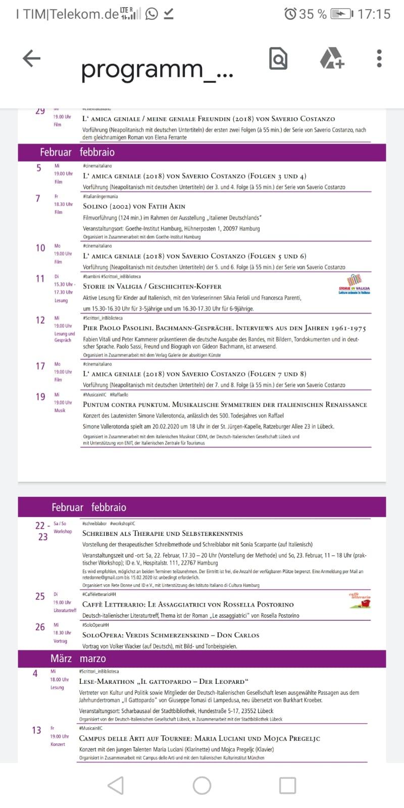 Scrittura terapeutica Amburgo 22 e 23 febbraio 2020